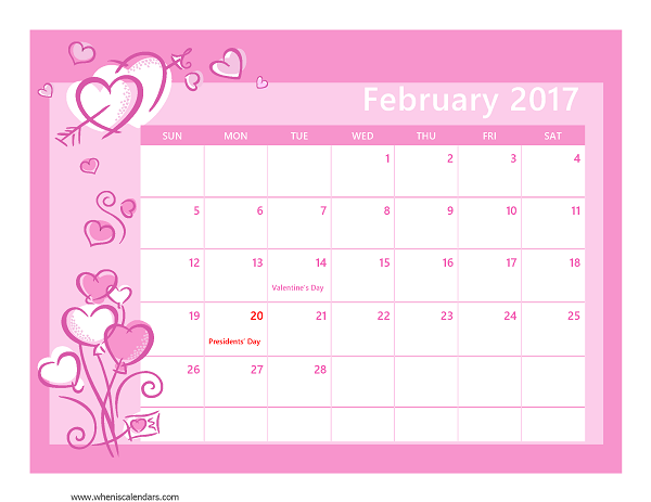 february 2017 calendar template feb 2017 calendar seasonal by month